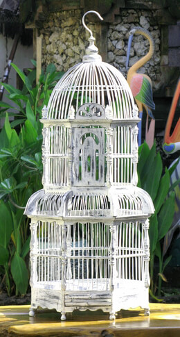 White Handcrafted Teak Bird Cage