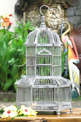 "22"" White Teak Wood Bird Cages"