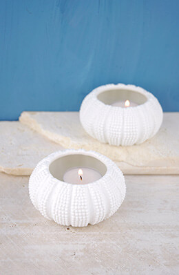 Ceramic Sea Urchin Tealight Holders (Set of 2)