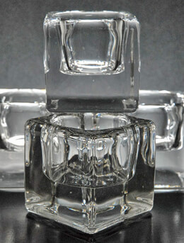 "6  Thick Glass 2"" CubeTealight Holders"