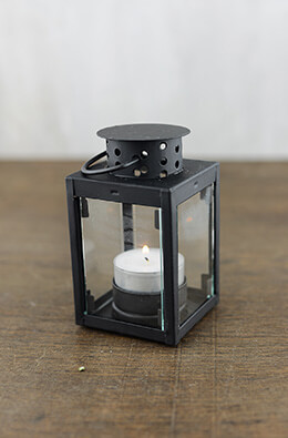 6 Tealight Lantern Black 4.25in