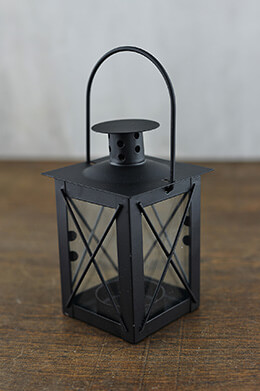 6 Black Metal & Glass Tealight Lanterns 5in