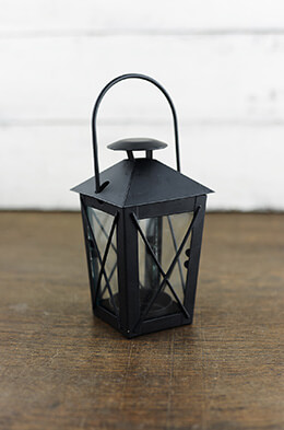6 Tealight Lanterns Black 5in