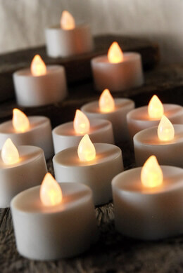 12 Battery Operated LED Tealights, Commercial Quality, Flickering Flame