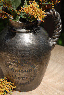 Terracotta Pitcher Black and Silver 12in