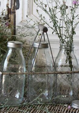 Three Milk Bottles in Chicken Wire Carrier