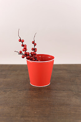 Tin Bucket Red 4in