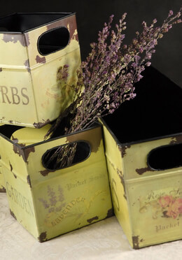 Rustic Tin Flower Boxes (set of 4)