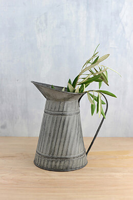 Tin Pitcher Gray 8.5in