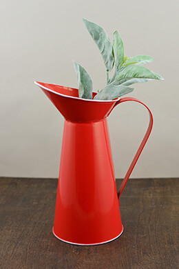 Tin Pitcher Red 11.5in