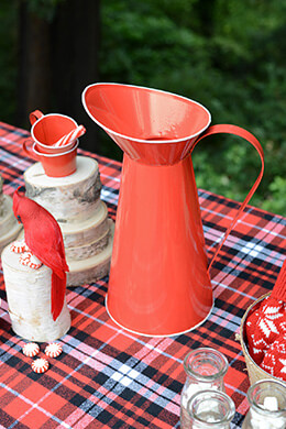 Tin Pitcher Red 14in