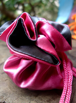 "Satin Reversible Favor Bags 2.5"" Fuchsia & Dark Grey (12 bags)"
