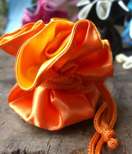 Tiny 2.5 Satin Favor Bags Orange & Yellow (12 bags) reversible