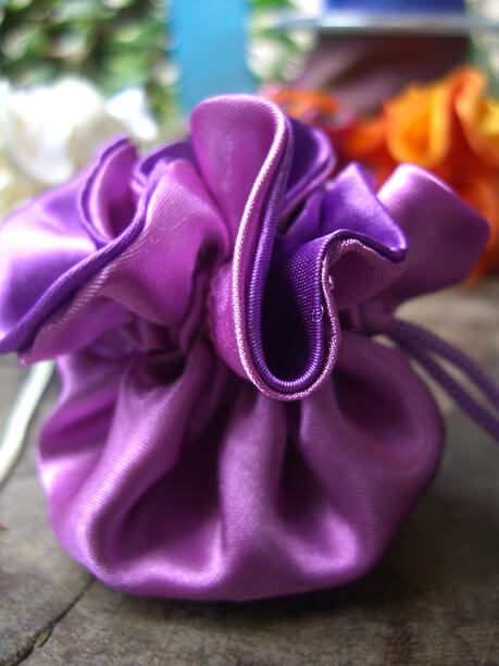 "12 Tiny 2.5"" Satin Favor Bags Purple & Violet"