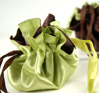 "Tiny 4"" Satin Favor Bags Lime Green & Chocolate Brown Reversible 4"""