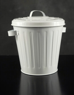 "Tiny Garbage Can 7"" White with Lid"