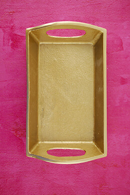 Tiny Metal Tray Gold 7in