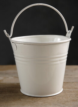 "Tiny 4"" White Metal Buckets"