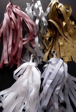 Tissue Paper Tassel Garland Purple, White, Grey ,Gold & Silver