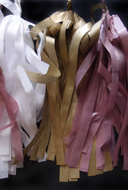 Tissue Paper Tassel Garland Kit - Gold Party (Gold, White, Light Rose) 20 Tassels