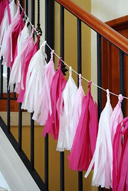 Tissue Paper Tassel Garland Pink Mix