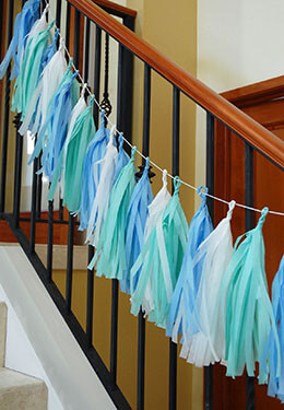 Tissue Paper Tassel Garland Sea Mix