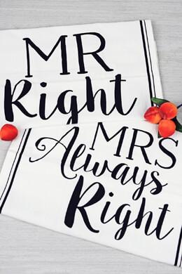 Mud Pie Mr. & Mrs. Right Flour Sack Towel Set