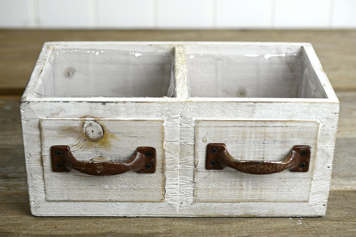 Wood Drawer Planter Boxes 2 Compartments 9in  White