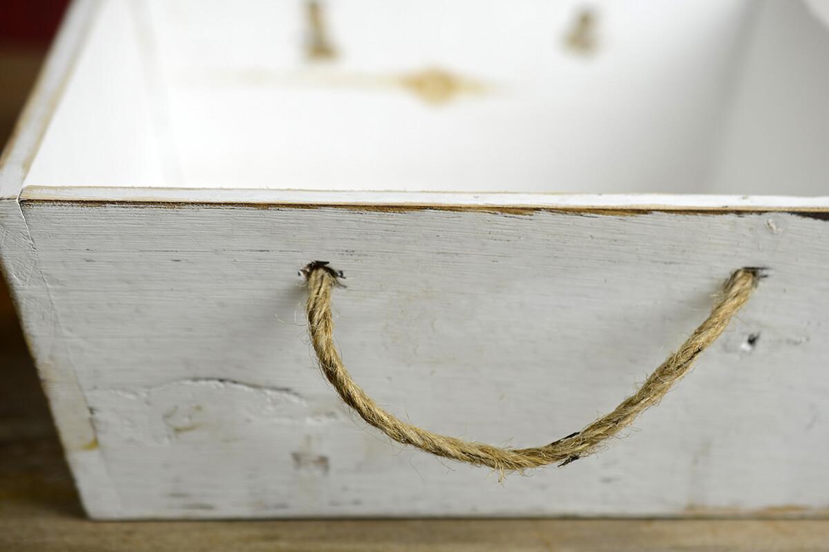 """Holiday Wood Square Box 9.5""""  Rope Handles"""