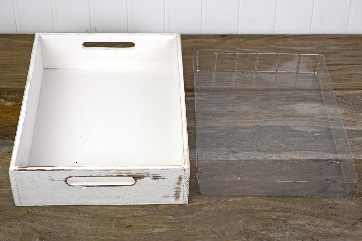 White Wood Rectangle Tray 10x14