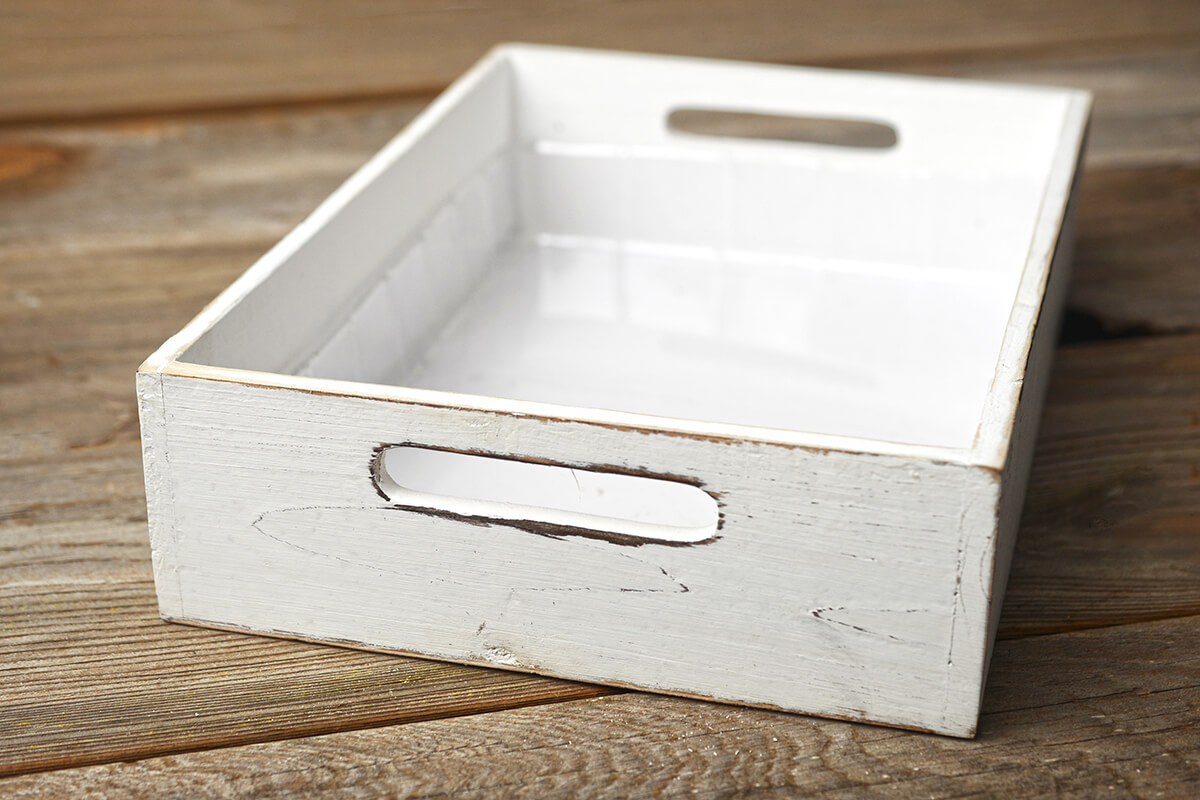 White Wood Rectangle Tray 9x13