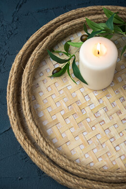 Lattice Wood and Rope Tray Set of Two