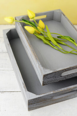 Grey Wood Trays - Set of 2