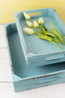 Blue Wood Trays - Set of 2