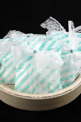 Aqua Blue Striped Treat Bags   5x7in (Pack of 100)