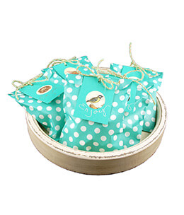 Treat Bags Dots Aqua 5x7in (Pack of 100)