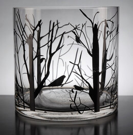 Tree & Bird Silhouette 6x6 Glass Cylinder Vase