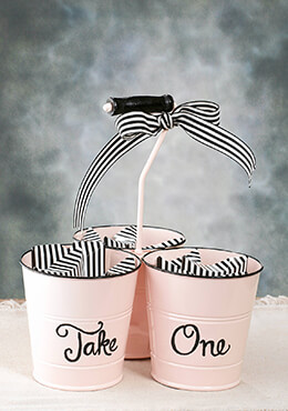 Triple Buckets with Handle Pink Enamel