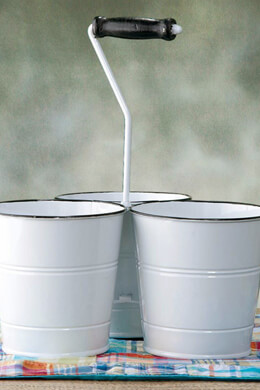 Enameled Utensil Holder Triple Buckets