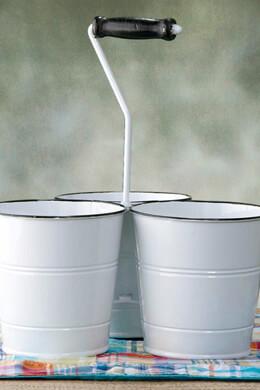 Enameled Utensil Holder Triple Buckets