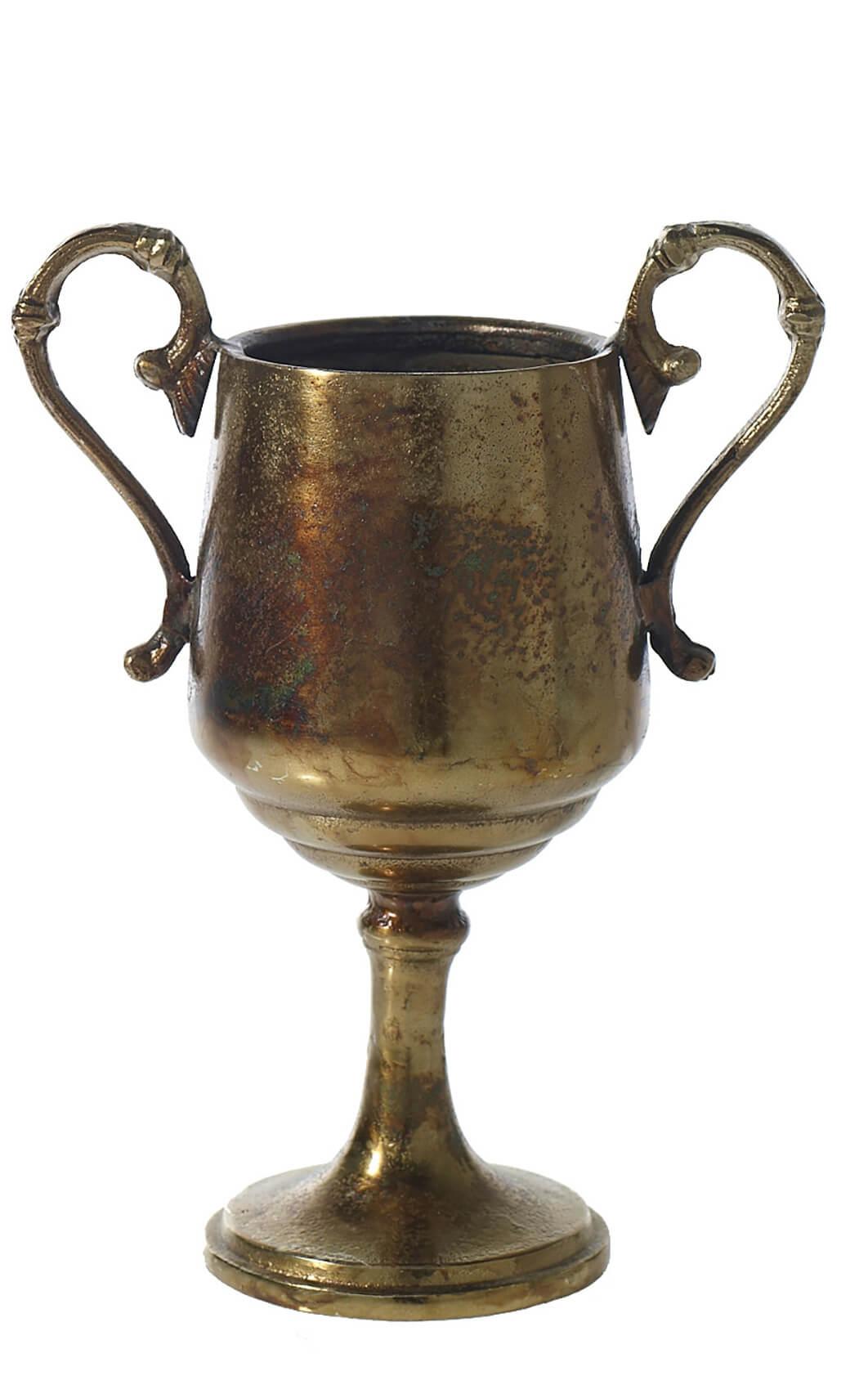 """Champion Urn  Trophy Gold Metal Vase  11"""""""