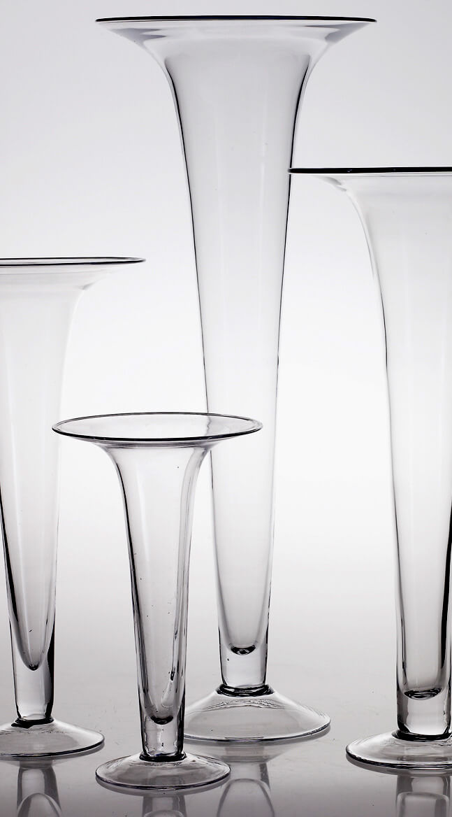 Clear Glass 29 Inch Tall Trumpet Vase