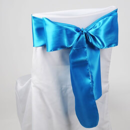 Turquoise Blue Satin Chair Sashes (Pack of 10)
