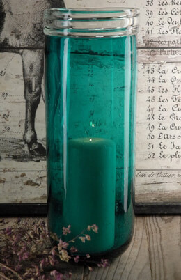 Turquoise Bubble Glass Cylinder Vase