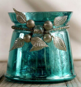 Turquoise Mercury Glass 4 in. Vase & Candleholder