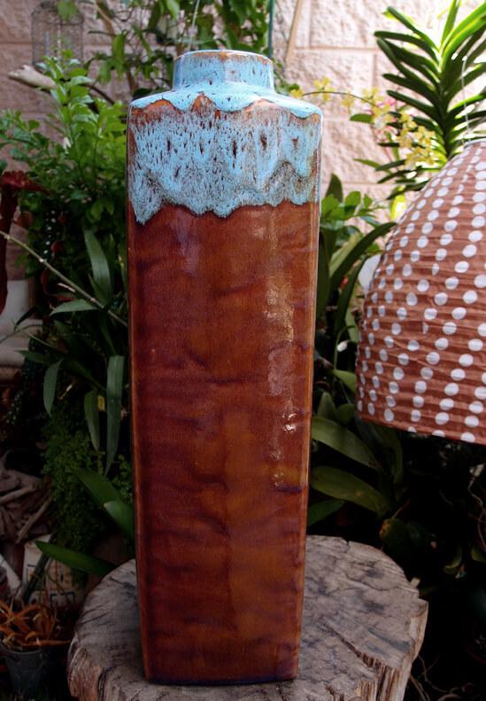 "Turquoise & Sienna Ceramic Large Vase 5.5 x 21.5"""