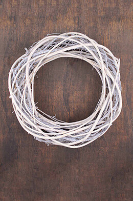 Twig Wreath Whitewashed 15in