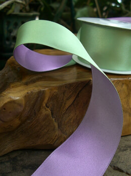 "Two Color Satin Ribbon Mint Green & Light Purple 1-1/2"" width 10 yards"