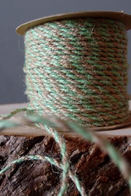 Twine Mint Green & Natural  Jute  2.5 mm x 50 yards