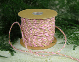Pink & Natural Two-Tone Jute Twine 2.5 mm x 50 yards